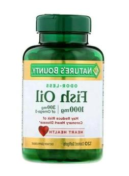 120 Fish Oil 1000mg Omega-3 Odorless Nature's Bounty Dietary