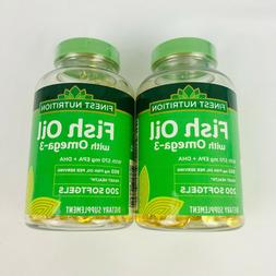 2 Finest Nutrition Fish Oil with Omega-3 950 mg 200 Softgels