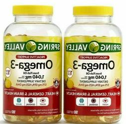 2 x Spring Valley Omega-3 from Fish Oil Proactive Health Twi