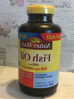 Nature Made Fish Oil 1000 mg w. Omega-3 300 mg Softgels 250