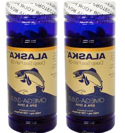 2X Bottles Alaska Deep Sea Fish Oil Omega-3,6,9, EPA/DHA Fla