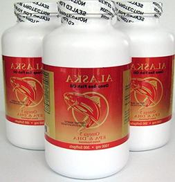 3 X 300 Alaska Deep Sea Omega-3 Fish Oil =900Caps, EPA/DHA,