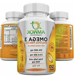 Amwok Concentrated Omega 3 Fish Oil 120 Count Exp 8-19