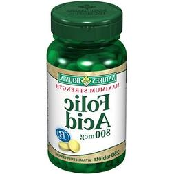 Natures Bounty Folic Acid 800 MCG Tablets to Control Birth D