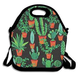 WUHUO Unisex Cacti Cucactus Green Reusable Insulated Lunch T