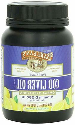 Barlean's Cod Liver Oil Softgels, Lemonade Flavor, 1000 mg.