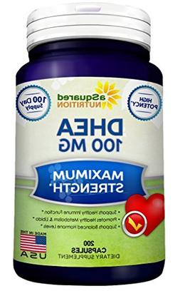 aSquared Nutrition Pure DHEA - 100mg Max Strength - 200 Caps
