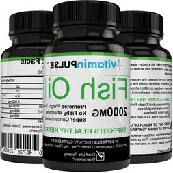 EXTRA HIGH POTENCY - OMEGA 3 FISH OIL Softgels Non-GMO, Glut
