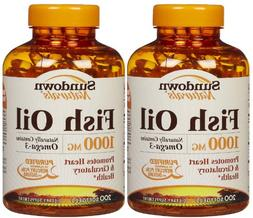 Sundown Naturals Fish Oil 1,000 mg Softgels, 200 ct, 2pk