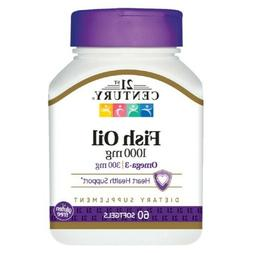 21st Century Fish Oil 1000 mg 60 Softgels No Artificial Colo