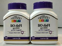 21st Century Fish Oil 1000mg - 60ct - EXP: 06/2022 - Lot of