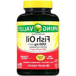Spring Valley Fish Oil Mini Softgels, 1200 mg, 200 Ct