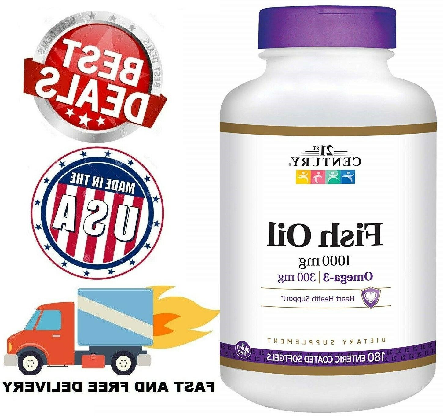 FISH OIL 1000 Mg Omega 3 EPA DHA Support Heart Health Supple
