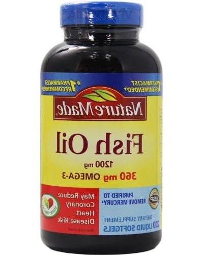 Pack of 2 Nature Made Fish Oil 1200 Mg  200 Liquid Softgels
