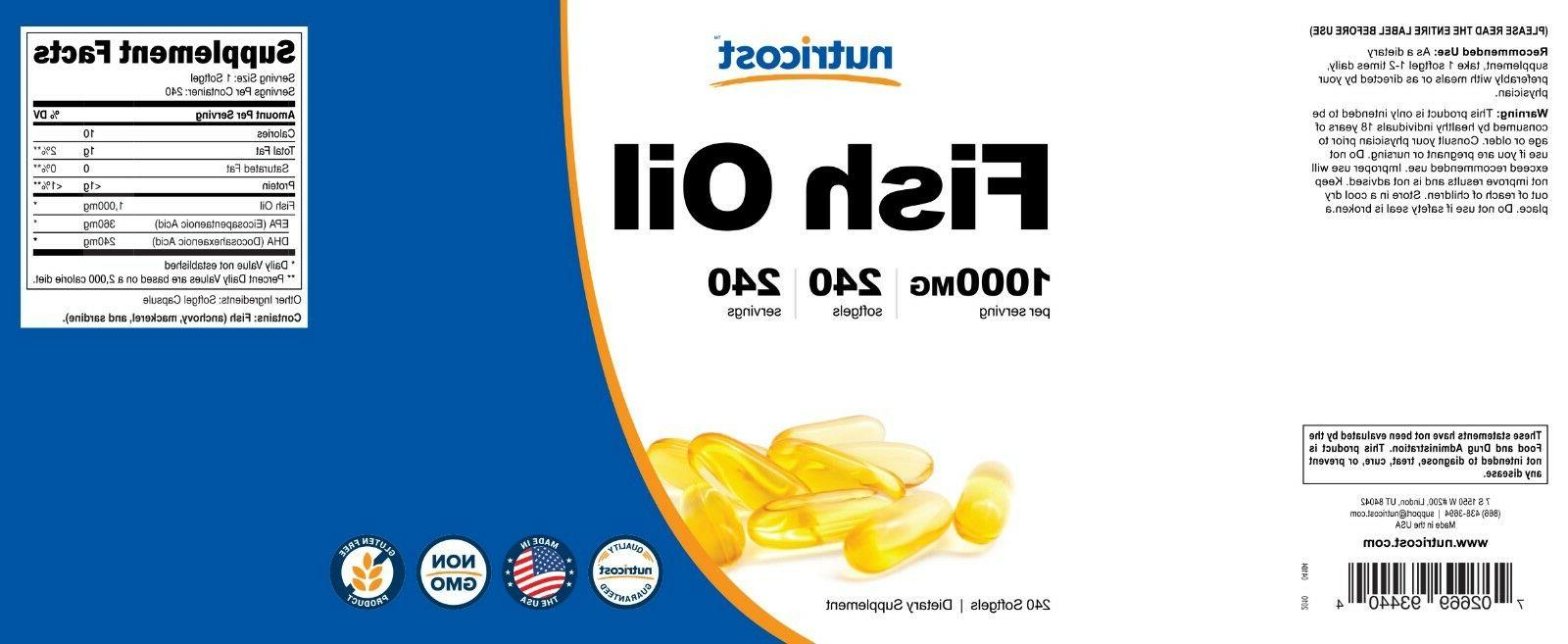 Nutricost High Quality Fish Oil 240 Softgels