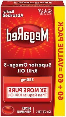 MegaRed Omega 3 Krill Oil 350mg Supplement, 120 ct