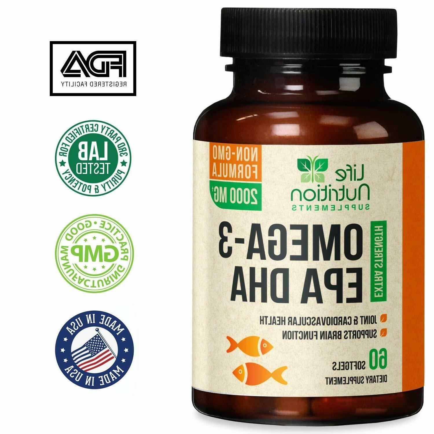 Omega 3 Capsules Triple Strength 2000mg EPA & DHA - 60