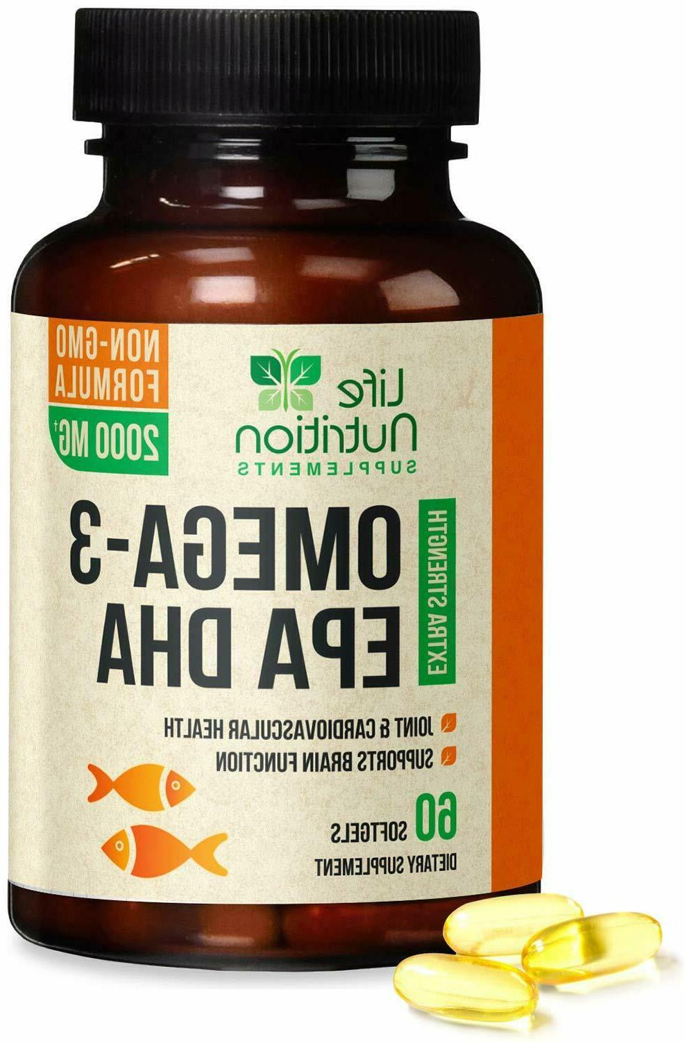 Omega 3 Oil Capsules Triple Strength EPA DHA - 60