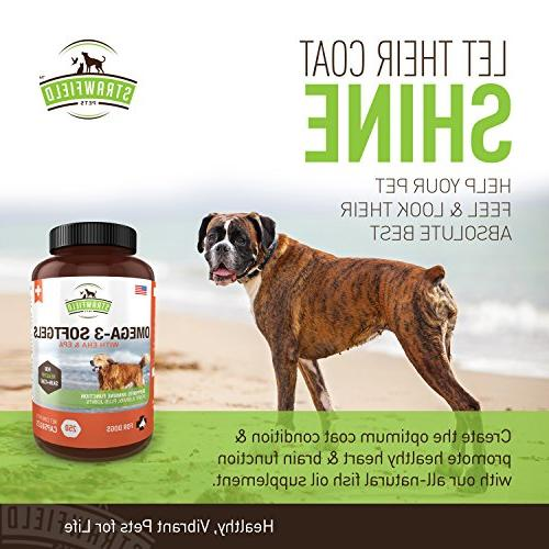 Omega 3 for Dogs, Softgel Pills, 1000 mg DHA Oil Pet Supplement for Joint Support Pain Allergy Coat, Itching Skin, Hot Spot,