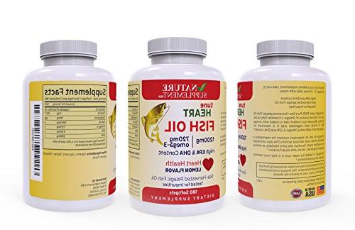Fish Oil Omega 1200mg, 180 Flavored, GMP-Certified, Supports