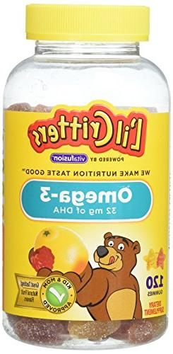 Lil Critters Omega-3 Gummy Fish with DHA, 120 Count