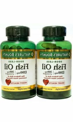 LOT OF 2 NATURE'S BOUNTY ODOR-LESS FISH OIL 1200MG, 60 COATE