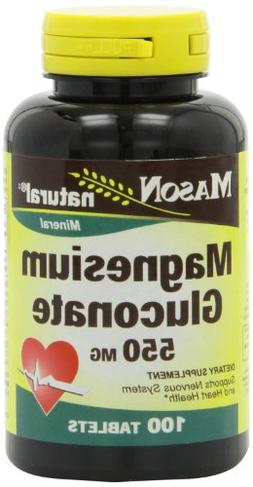 Mason Natural, Magnesium Gluconate 550 Mg Tablets, 100-Count