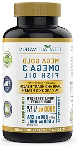 Omega 3 Fish Oil Advanced Brain Power Supplement, Skin, Hair