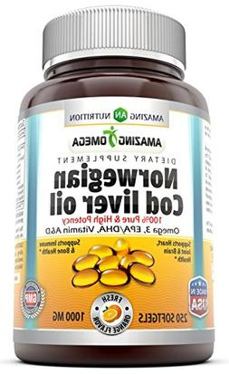 Amazing Omega Norwegian Cod Liver Oil 1000 Mg, Softgels