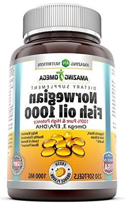 Amazing Nutrition Norwegian Fish Oil, 1000 Mg 250 Softgels F