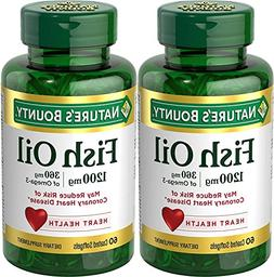 Nature's Bounty Odorless Fish Oil 1200mg, Omega 3, 120 Softg