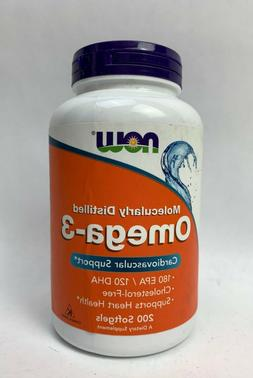 Now Foods Omega-3 1000mg 200 Softgels Fish Oil Joint & Heart