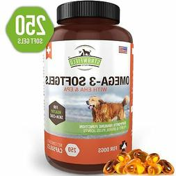 Omega 3 Fish Oil for Dogs, 250 Softgel Pills, 1000 mg EPA DH