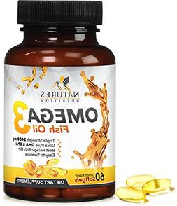 Omega 3 Fish Oil Concentrated Triple Strength 2400mg - EPA &