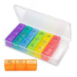 KILOTOY Portable Weekly Pill Cases Pill Box Travel Pill Orga