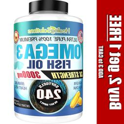 Ultra Pure Omega 3 Fish Oil 3000mg Small, Potent, Joint Pain
