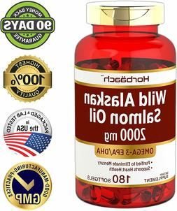 WILD ALASKAN SALMON FISH OIL 2000 mg 180 Softgels Omega 3 Fa